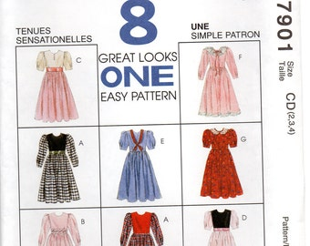 McCall's 7901 Children's Dress Size 2,3,4 Uncut Pattern