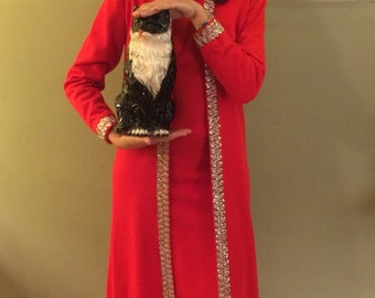 60s vintage party dress lipstick red long maxi fancy silver sequin sparkle glitter VTG retro matching coat homemade rare OOAK small mod prom