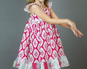Girls Red and White Twirl Dress with Ruffle - Red and White Floral Dress - Red and White Girls Dress