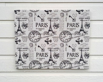French Bulletin Board, Paris script office Pinboard, words and symbols in taupe linen with black symbols and writing, office notice board