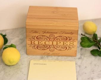 Recipe Box, Family Recipe Box Custom Recipe Holder, Custom Recipe Box, Engraved Recipe Box, Gift for the Cook --28509-RB01-001