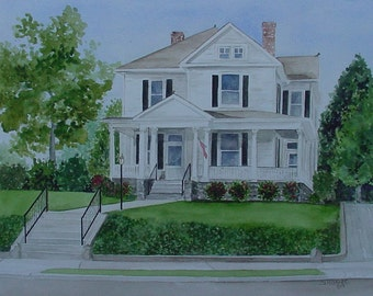 House Painting in Watercolor by Suzanne Churchill, Realtor Closing Gift, Housewarming or House Leaving Gift, Gift Certificate Available