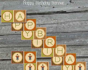 Thanksgiving Fall Harvest Autumn Birthday Banner Harvest Festival - Apples - Scarecrow  - INSTANT DOWNLOAD