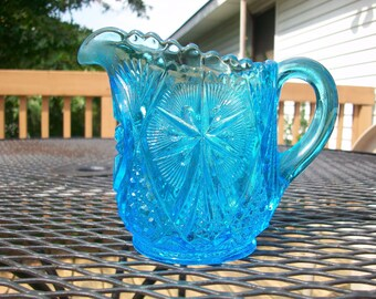 Vintage Blue Cut Glass pitcher/Creamer
