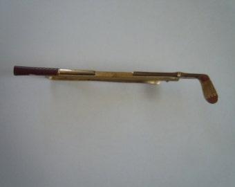 Gold 1940s Golf Club Hickok Tie Bar