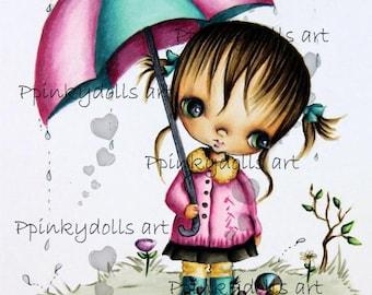INSTANT DOWNLOAD Digital Digi Stamps..by Chrishanthi's art,Raining day''