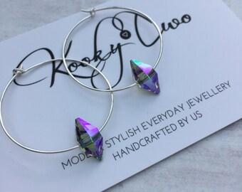 Sterling Silver Hoop Earrings with Paradise Shine Swarovski Crystal/Spike/Silver Hoop/Hoop Earring/Modern/Edgy/Minimal/Everyday/Gift/Bridal