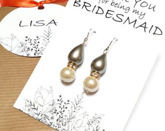 Pearl bridesmaid earrings. Teardrop pearl earrings. Wedding earrings. Bridal earrings. Bridesmaid gifts. Bridesmaid jewelry. Gift for her.