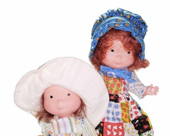 Set of 2 Betsey Clark Vintage 1975 Holly Hobbie Doll and Friend Carrie 6 inch Vinyl Knickerbocker Toys