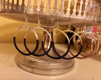 Small Wire Wrapped Round Hoops