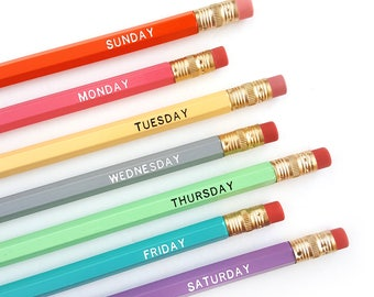 7 Days of the Week Pencils — Imprinted/Engraved Pencils - Bright Office Pencils