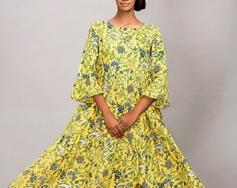 Garden - block print / maxi dress / natural dyes / ecofashion / sustainable clothing / cotton dress / sustainable fashion