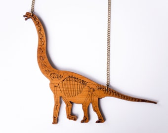 Brachiosaurus Skeleton Dinosaur Necklace. Laser Cut Wooden Dinosaur Necklace. Cherry Wood. Brontosaurus Diplodocus Bones Jewellery.