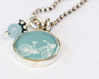 Bike Necklace • Bicycle Statement Necklace • Boho Personalized Necklace • Gift for Her • Choose Your Colors • Bicycle Lover Gift