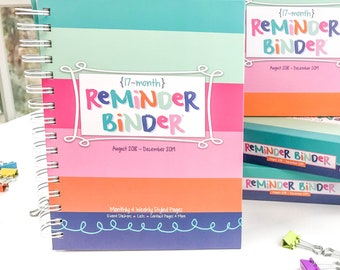 2018-19 Reminder Binder® Planner, Weekly Monthly 360+ stickers Tabs Tear-off Lists Contacts Gift Box - Teacher Gift or Mother's Day Gift