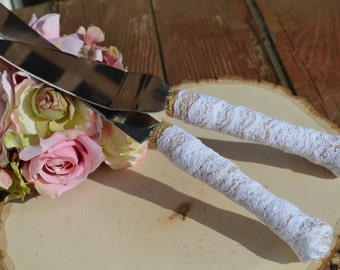 rustic wedding cake knife, burlap and lace cake serving set, shabby chic wedding knife, vintage reception(K119)