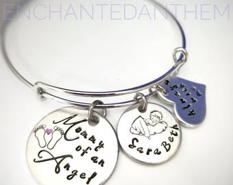 Mommy of an Angel - Infant loss bracelet - Memorial Jewelry - Child Loss Bracelet - Miscarriage Gift - Remembrance Gift
