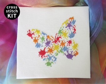 Modern beginners embroidery kit, easy and simple splattered paint butterfly cross stitch kit, DIY craft, make your own with rainbow colours