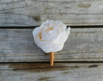 IVORY PEONY Buttonhole Wedding Boutonniere for Grooms made with artificial silk peonies