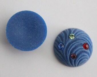 Vintage blue textured rhinestone cabochons 18mm (2)