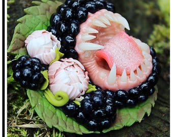 Blackberry brooch Toothy blackberry Carnivorous blackberry Brooch with teeth Crazy jewerly