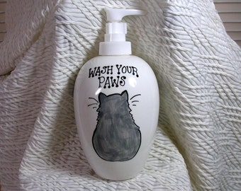 Russian Blue Grey Cat Soap Dispenser Wash Your Paws Handmade Ceramic by Grace M Smith