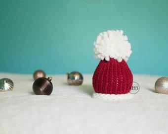 Ho Ho Ho - Santa Hat - Christmas Holiday - Red White - Pom Pom Newborn Baby - Photography Prop