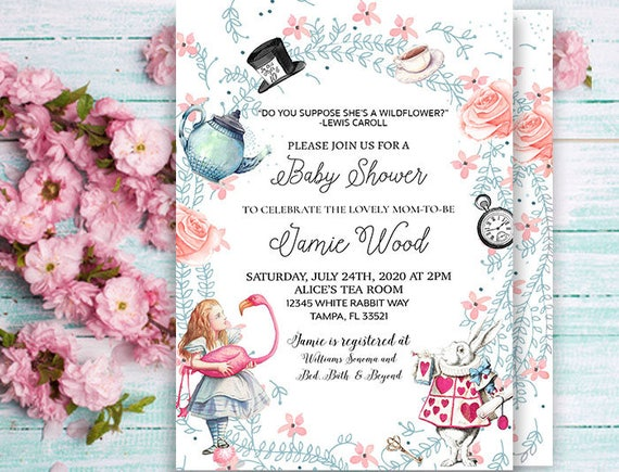 Alice In Wonderland InvitationBaby Shower InvitationTea