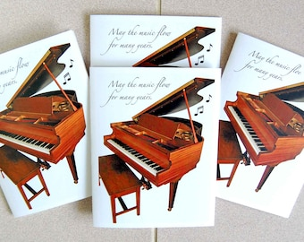 Music Geek Baby Grand  4 Card Set, Piano Blank Note Card Set, Music Greeting Card Set, Milestone Event Card