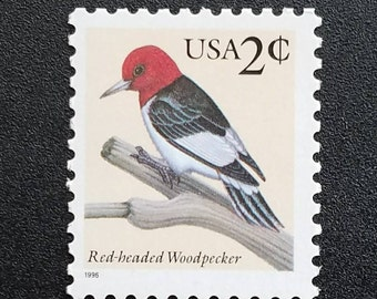 Ten (10) vintage unused postage stamps - Red-headed Woodpecker // 2 cent stamps // Face value 0.20