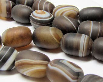 Perles d'agate 14 X 10mm naturel lisse mat marbré chocolat Agate Perles Tube arrondi lisse - 12 pièces