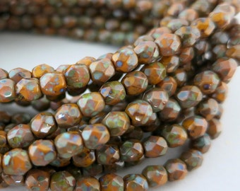 4mm Sunflower Picasso Beads, Faceted Firepolished, Czech Glass, Strand of 50