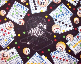 Bingo Games Of Chance Caller Black Cotton Fabric Fat Quarter Or Custom Listing