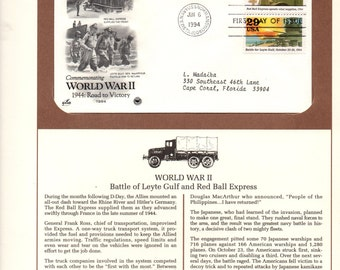 World War II,  Battle of Leyte Gulf,  Vintage USPS Collectible Stamps, Postal Commemorative Society, 1st Day of Issue, 29 cent Stamp,