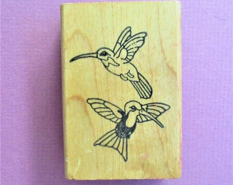 Hummingbirds Papercraft Rubber Stamp Destash Craft Supply Nature Birds Scrapbooking Card Making DIY Invitations Stamping Supply Wood Mount
