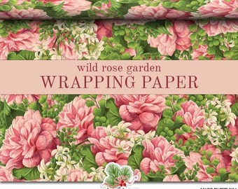 Pink Roses Floral Wrapping Paper | Victorian Rose Garden Gift Wrap In Two Sizes Great For Any Occasion. Made In The USA