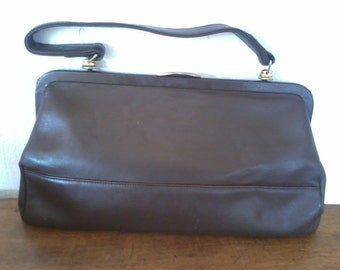 vintvery pretty soft leather bag good quality chocolate colorsage