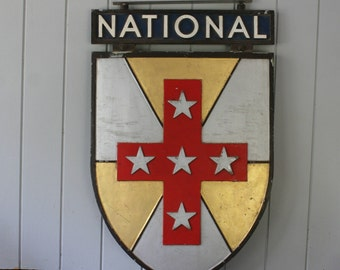 National Australia Bank Sign Shield Metal Double-Sided Sign Cross Stars Knight Man Cave Mantique RARE
