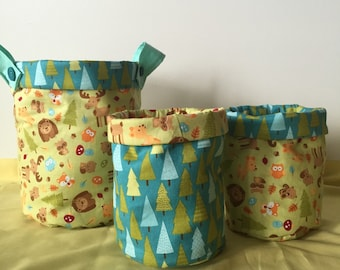 Small fabric bucket, fabric basket , woodland  basket, wooland fabric , babys room