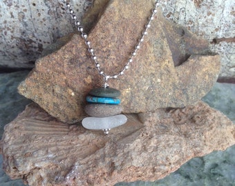 Stacked Rock Cairn Necklace Take a Hike, Find Your Zen Path - beach glass - turquoise