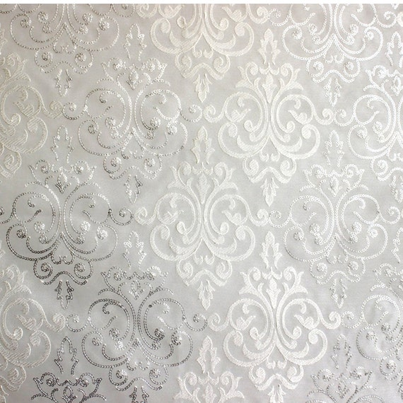 White Amp Silver Damask Embroidered Sheer Curtain Fabric By The