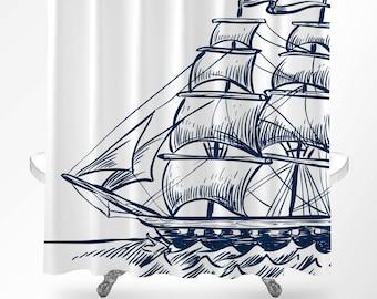 Nautical shower curtain   Etsy