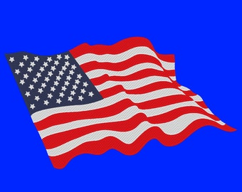 American Flag Waving United States USA Embroidery Design