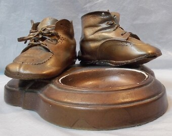 Vintage 1940s Bronzed Baby Shoes on Dresser Coin Dish/Ashtray-2 Different Shoes