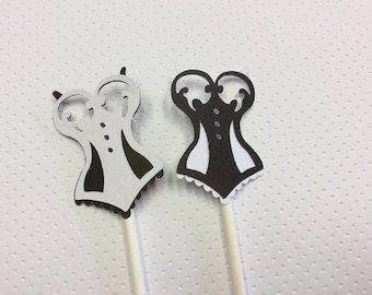 12 Black and White Corset Cupcake Toppers