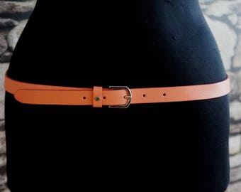 Narrow peach leather belt, waist/hips skinny belt, minimalist silver buckle, medium size, women's vintage fashion accessories