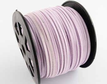 3mm flat faux suede leather cord,lavender,3X1.5mm,1-5yards