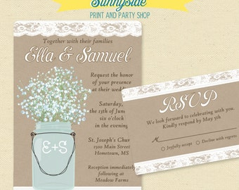 Mason Jar Wedding Invitation, DIY Printable Rustic Wedding Invites, Babies Breath Kraft Lace Country