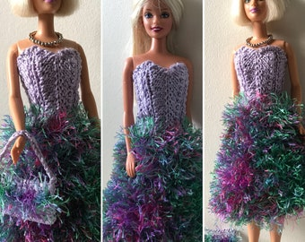 Handknitted dress for Barbie in purple and multicolors