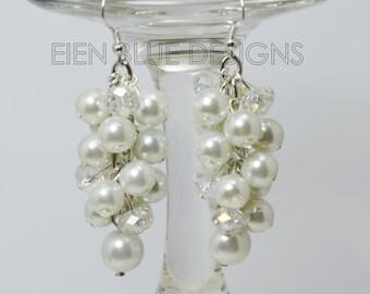 Pearl Earrings, Pearl Cluster Earrings, White Pearl Earrings, Cluster Earrings, Chunky Earrings, White Bridal Jewelry, Wedding Jewelry